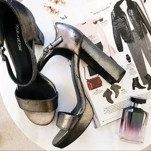 Pour La Victoire Yvette Metallic Block Heels 8.5✨
